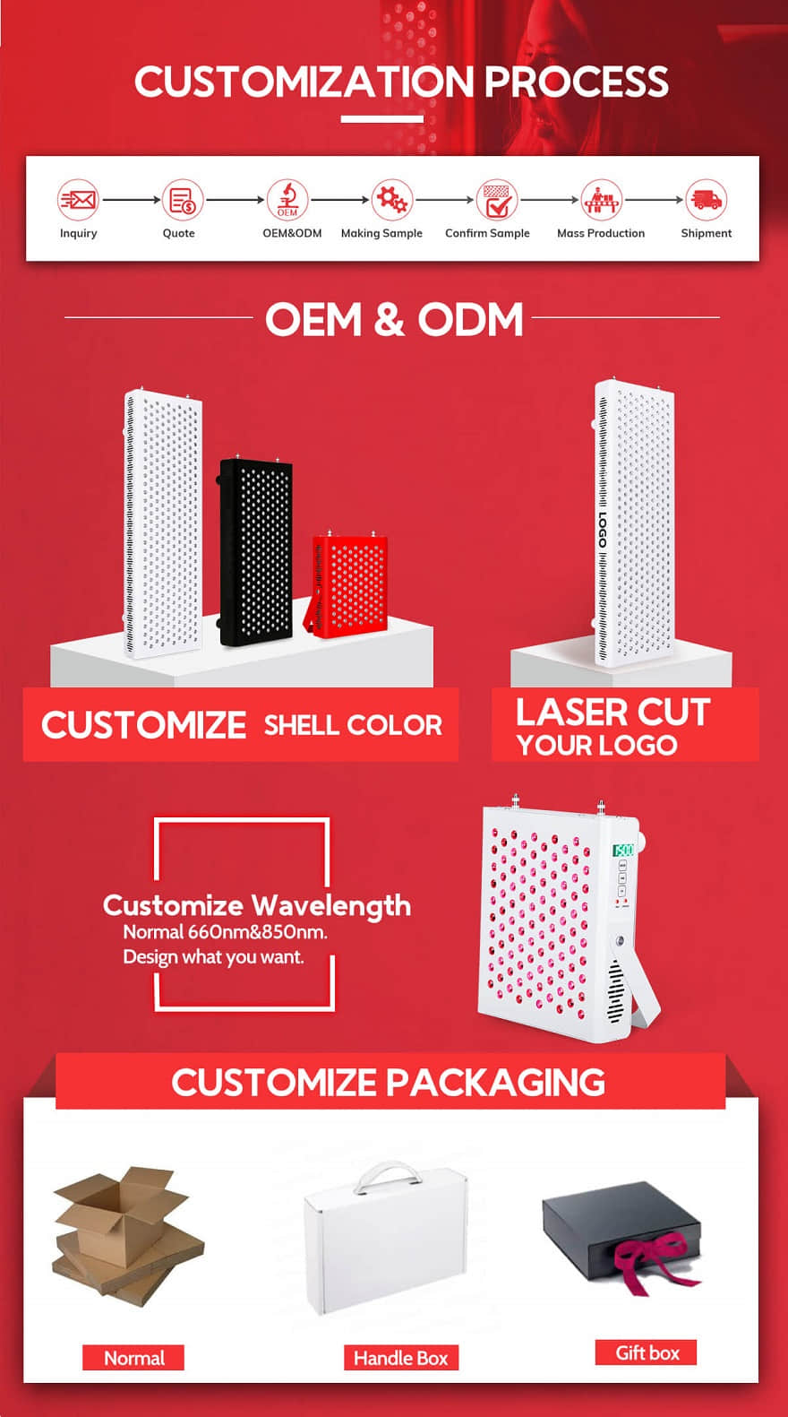 custom infrared red light therapy devices OEM ODM