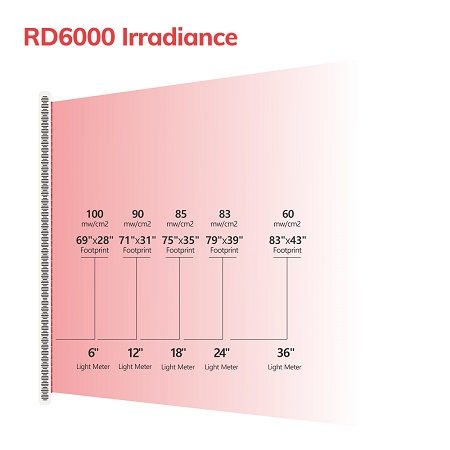 RD6000 red light therapy irradiance
